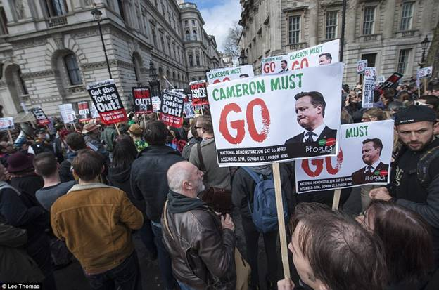 Description: Thousands of protesters have marched on Downing Street calling for David Cameron to quit in the wake of revelations about his tax affairs