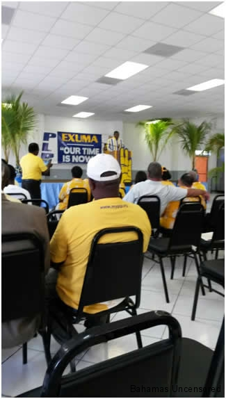 Exuma Conventions- Bradley Roberts, Party Chair addresses the convention