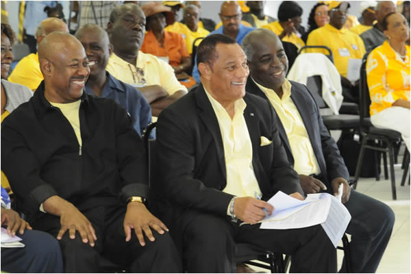 Exuma Conventions-Prime Minister Perry Christie at the centre with Obie Wilchcombe, Minister of Tourism and Philip Davis Deputy Prime Minister at Exuma Convention.  Photo by Peter Ramsay of the Bahamas Information Services on 29th November at Ramsay, Exuma