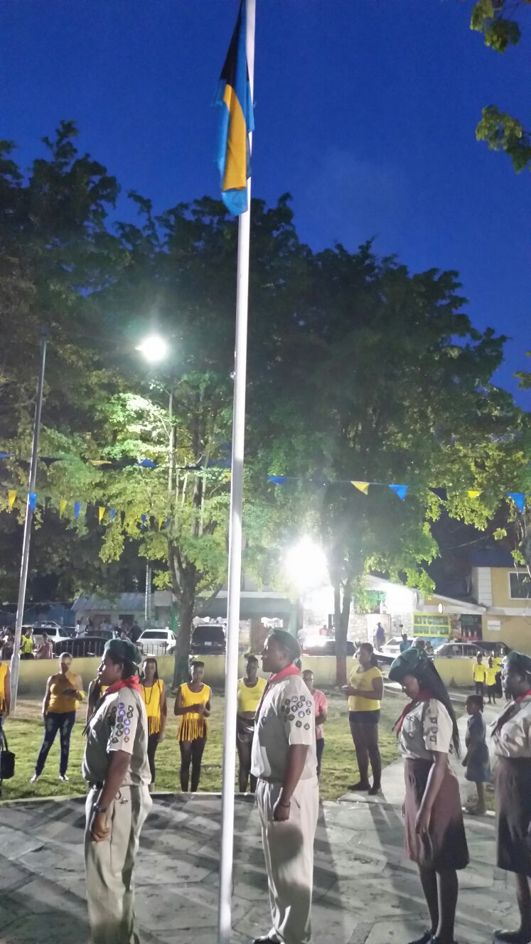The local chapter of the Boys Scouts performed the ceremonial flag raising honours.
