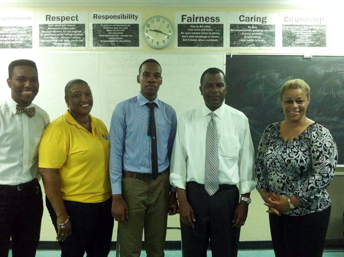 The photo shows from left: Lambert Rahming Jr.,  PLP Fox Hill Branch Chair Charlene Marshal, Fred Mitchell, MP Fox Hill, and  Hope Strachan , MP Sea Breeze.