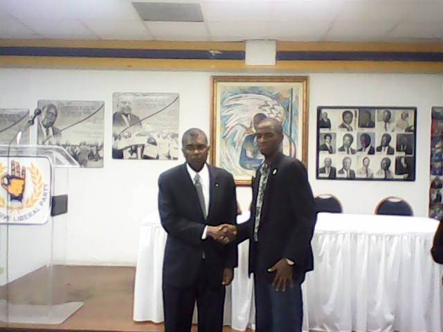 The Minister Fred Mitchell is show below with copies of his book Great Moments In PLP History after he spoke to NPI on Monday 25th August    <div title=