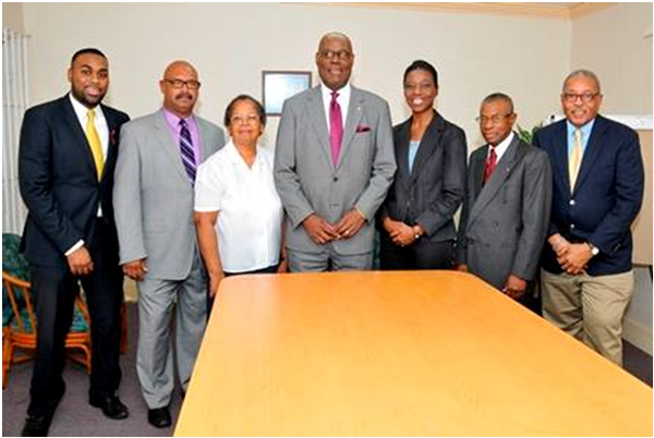 Members of the Executive team of the Bahamas Press Club 2014. Pictured from left are Kendeno Knowles, public relations officer; Julian Reid, education officer; Marguerite Guillaume, ethics committee chair; Anthony Newbold, president; Lindsay Thompson, secretary; Anthony Capron, second vice president and Vincent Vaughan, treasurer. Executives not pictured are Shenique Miller, assistant secretary; Carla Palmer, assistant treasurer; and Clint Watson, chaplain.