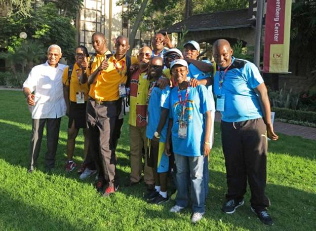 Honorary Consul of The Bahamas to California Cedric A. Scott is pictured with members of Team Bahamas at the Annenberg House on the campus of the University of Southern California on Monday, July 17.