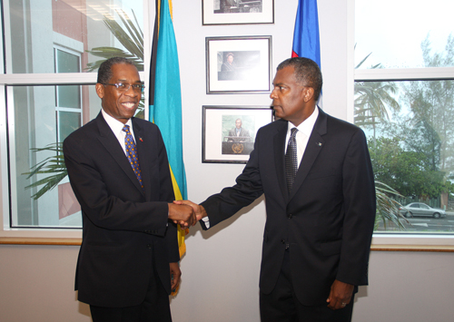 Ambassador Rodrigue is pictured, left, and Minister Fred Mitchell, right. (BIS Photo/Patrick Hanna)